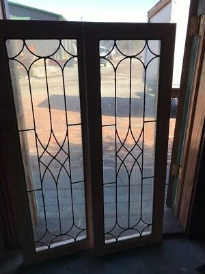 Sg 2029  2 Av Price each antique leaded glass transom window 16.25 x 46.25