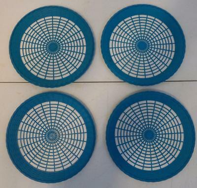 Vtg Set Of 4 Teal Plastic Paper Plate Holders Woven Wicker Look Camping Picnic