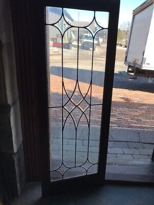 SG 2035 antique leaded and beveled glass bookcase door or transom window 18 x 48