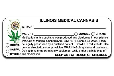 Il Illinois Marijuana 420 Cannabis Compliant Packaging Label 50 100 200 500 1000