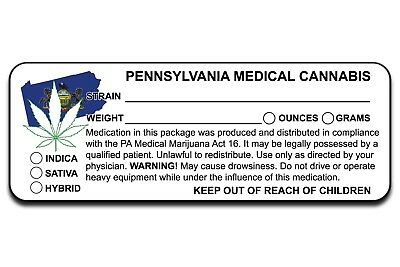 Pa Pennsylvania Marijuana 420 Cannabis Compliant Packaging Label 10 100 200 1000