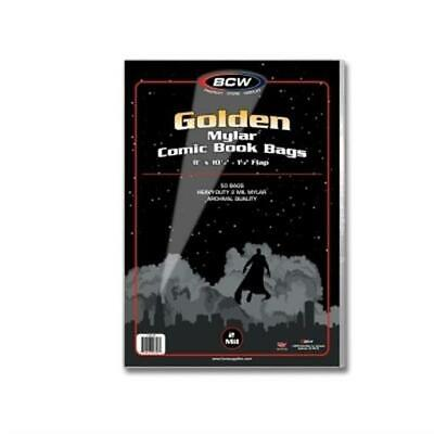 Golden Mylar Comic Book Bags 2 mil Pack of 50 BCW Archival Polyester Semi Rigid
