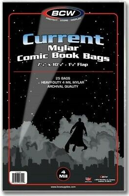 Current Mylar Comic Book Bags 4 mil Pack of 25 BCW Archival Polyester Semi Rigid