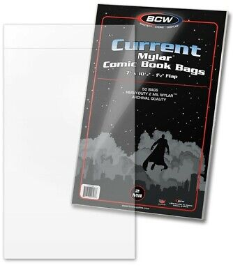 Current Mylar Comic Book Bags 2 Mil 50 BCW Archival Polyester Semi Rigid Sleeve