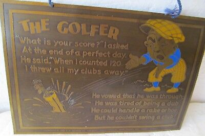 Rare Vintage Enameled Brass Plaque With Knickered Golfer Throwing Clubs In Lake