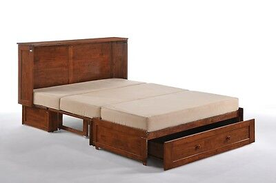 Night & Day Clover cherry Murphy cabinet bed, gel mattress & tray set, Queen