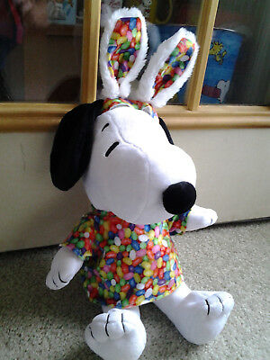 "SNOOPY as EASTER BEAGLE with JELLY BEAN EARS & SHIRT 18"" tall PLUSH DOLL UNUSUAL"