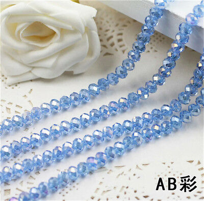 Jewelry Faceted 30pcs # 5040 6x8mm Rondelle glass Crystal Wathet Beads AB DIY