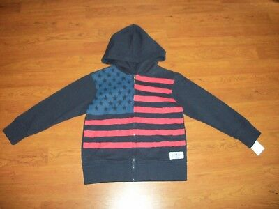 NWT OshKosh USA Flag Hoodie Navy size 6 Sweatshirt Zip Up July 4th