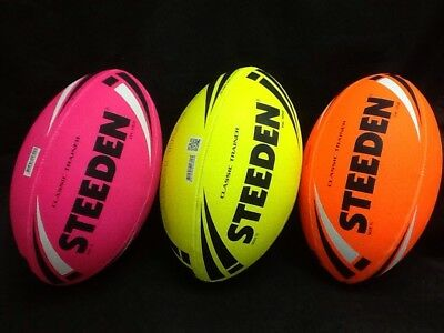 Steeden Fluro Classic Trainer Rugby League Balls full size #27597-8-9