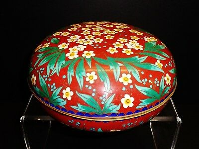 Antique Chinese cinnabar red and turquoise bronze cloisonne jewelry vessel