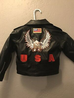 Toddler 2T Faux leather Bomber Motercycle Jacket Black Eagle USA Bike Star NEW!