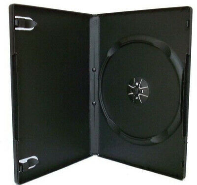 100 Single Black 14mm Quality CD / DVD Cover Cases - Standard DVD case -courier