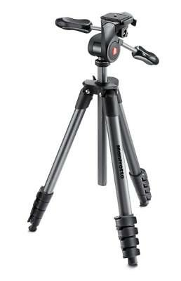 """Manfrotto 65"""" Compact Advanced Aluminum Tripod & 3-Way Head with Case Black"""