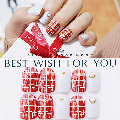 24 x Fashion Christmas Wedding Red Cross pattern Fake False Nails Tip Stickers