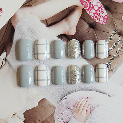 NEW 24pcs Blue Checks 3D Shimmer DIY Art Girls Short False Fake Nails Glue N3061