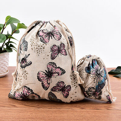 1/2PCS Butterfly Cotton Linen Handmade Drawstring Tote Wedding Gift Jewelry Bags