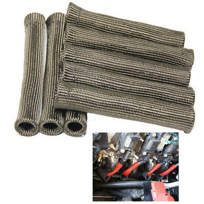 """8x 6"""" inch Car Spark Plug Cable Wire Sleeving Boot Heat Protection Fiber 1700 °F"""
