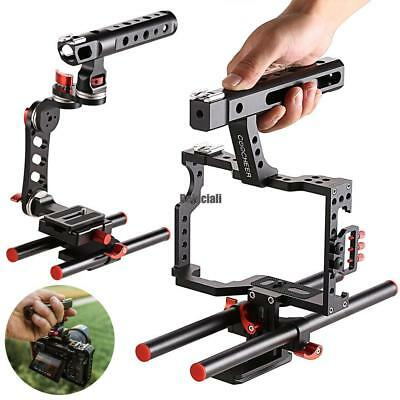 Professional Rod Rig DSLR Camera Video Cage Kit Stabilizer Top Handle Grip neu