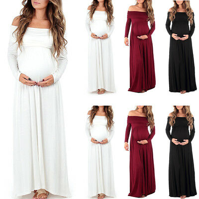 Pregnant Women's Maternity Dress Bodycon Soild Long Maxi Gown Photography Props