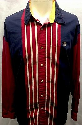 Vintage 90S Tommy Hilfiger Striped Crest L/s Button Up Shirt Hip Hop Polo Xl
