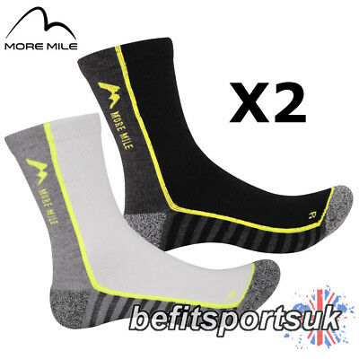 More Mile Mens Womens Ladies Coolmax Mid Crew Running Sports Cushioned Socks 2