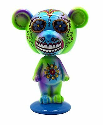 Blue and Green Day of the Dead Bear Bobblehead