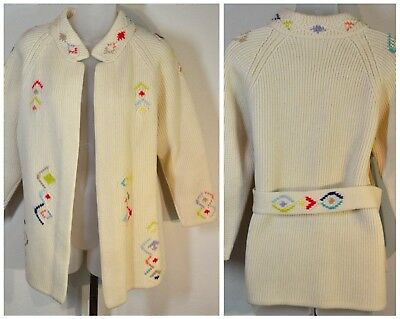 Vintage 1950-60s STOCKINETTE KNIT CARDIGAN SWEATER~Embroidery Designs~Open Front