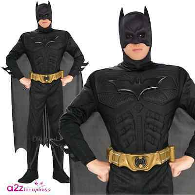 Deluxe Dark Knight Batman Adult Mens Superhero Fancy Dress Costume Black Muscle  sc 1 st  PicClick UK & DELUXE DARK KNIGHT Batman Adult Mens Superhero Fancy Dress Costume ...