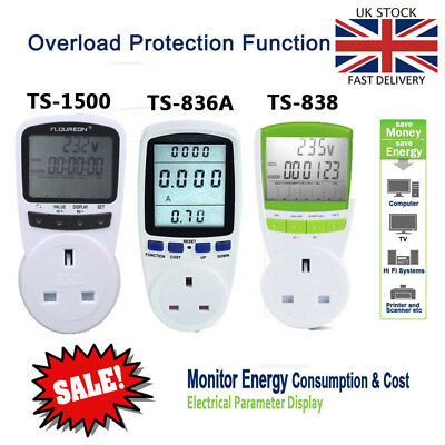 New Plug In Electricity Power Consumption Meter Energy Monitor Usage Socket UK