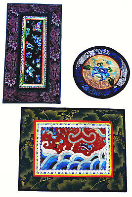 China 3 antike Stickereien Seide Qing chinese silk embroideries