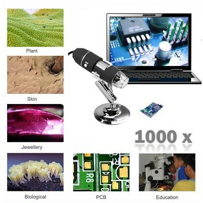 1000X 8 LED Digital Microscope Endoscope HD 2MP USB 2.0 Magnifier Camera + Stand