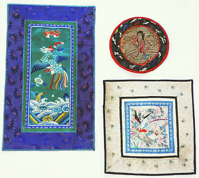 China 3 antike Stickereien Seide Gold Qing chinese silk embroideries