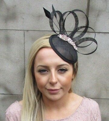 Black Rose Gold Sinamay Feather Pillbox Hat Fascinator Races Hair Clip 5430