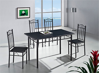 Extravagant Black Kitchen Dining Table and 4 Chairs 5 Piece (RRP £99.99)