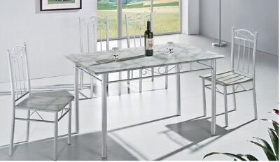 Amazing White Kitchen Dining Table with 4 Chairs 5 Piece (RRP £99.99)