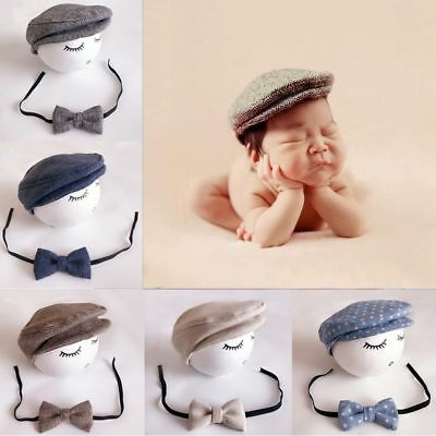 Infant Crochet Baby Hat + Bow Tie Outfits Set Beanie Cap Photography Props
