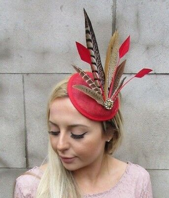 Red Gold Pheasant Feather Pillbox Hat Fascinator Races Hair Clip Wedding 5435
