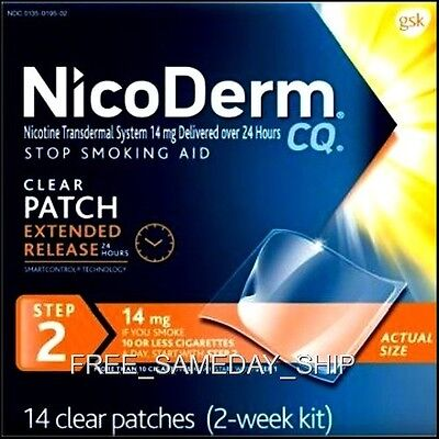 FREE_SAMEDAY_SHIP Nicoderm CQ Step-2 NOV 2018 __ 2-Week 14 Nicotine Patches 14mg