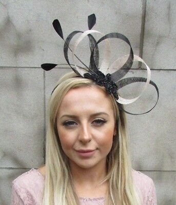 Black Cream Sinamay Feather Hair Fascinator Headband Races Cocktail Wedding 5440