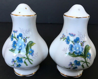 Vintage Royal Albert Forget Me Not Salt And Pepper Shakers First Quality England