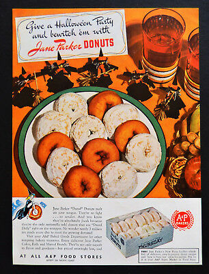Vtg 1942 Jane Parker A & P donuts Halloween Witch advertisement print ad art