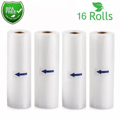 "16 Rolls 11""x50' Vacuum Sealer Bags 4Mil Embossed Foodsaver Vacuum Storage 800ft"