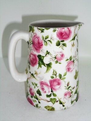 BN Cream Pottery Rose and Ivy Chintz Style Pitcher Jug Small Milk Jug, Floral Ju