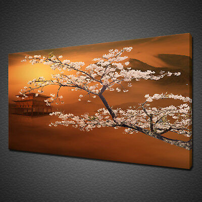 Sunrise Cherry Blossom Oriental Wall Art Canvas Print Picture Free Delivery