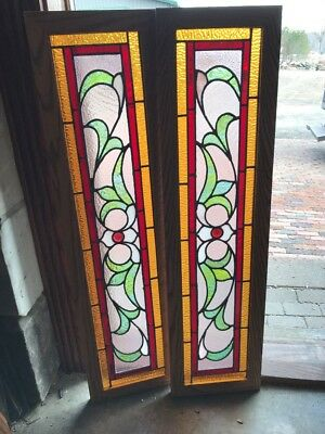 Sg 2054 2 Av Price each antique stain glass transom window 11.5 x 45. Five