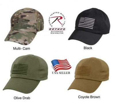 beef394ae CAMOUFLAGE OR SOLID Operator Cap Tactical Hat With US Flag Rothco