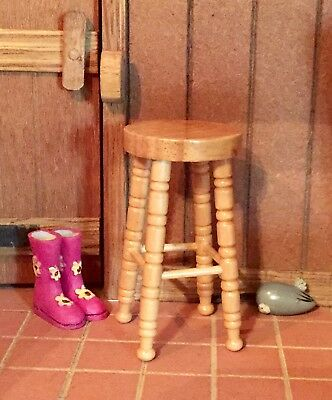 Dolls House Furniture  1/12 Scale  pine High  Stool  country cottage