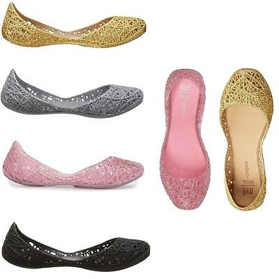 4be784542028 Mini Melissa Kids Girls Mel Campana Zig Zag Ballet Flats Slip On Shoes NEW