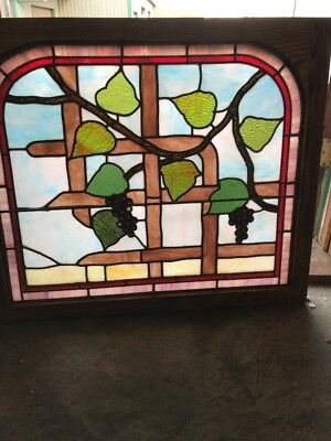 Sg 2059 Antique Stainglass Window Grapes And Leaves 27.25 X 32.25